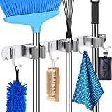 HYRIXDIRECT Mop and Broom Holder Wall Mount Heavy Duty Broom Holder Wall Mounted Broom Organizer Home Garden Garage Storage Rack 5 Position with 6 Hooks (Grey Stainless Steel)