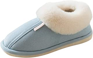 KAIXLIONLY Women's House Slippers, Winter Home Outdoor Indoor Slippers Non-Slip Shoes Faux Fur Lining Warm Slippers