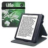 kwmobile Funda Compatible con Kobo Libra H2O - Carcasa para e-Book de Cuero sintético - Magnolia Blanco/Amarillo/Verde