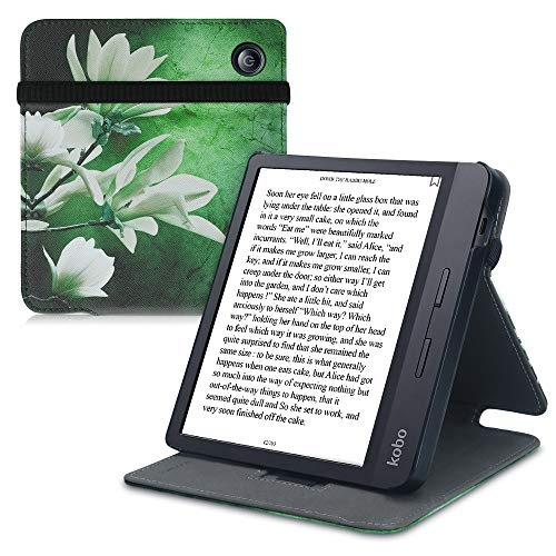 kwmobile Custodia Verticale e-Reader Compatibile con Kobo Libra H2O - con Fascia e leggìo - Flip Case in Pelle PU - Magnolia Bianco/Giallo/Verde