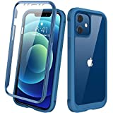 Diaclara Designed for iPhone 12/12 Pro Case, Full Body Rugged Case with Built-in Touch Sensitive Anti-Scratch Screen Protector, Soft TPU Bumper Case for iPhone 12/12 Pro 6.1' (Blue and Clear)