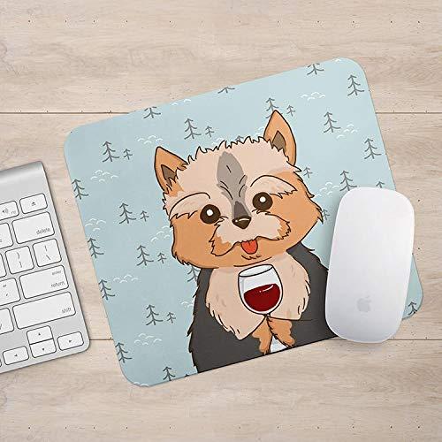 Yorkshire Terrier drinken koffie/wijn muismat, Yorkie hond muis pad, hond liefhebber cadeau muismatten, Aztec geometrische grappige laptop accessoires, Size: 7.1x8.7 inches/18x22cm, Veelkleurig