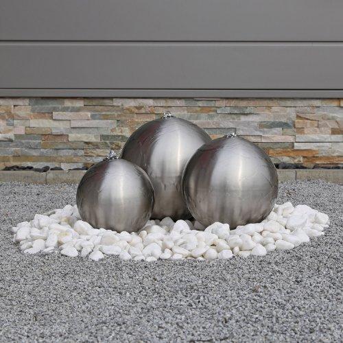 Edelstahl Kugelbrunnen ESB2 matt gebürstet 3 Edelstahlkugeln inkl. LED Beleuchtung Außenbereich Garten