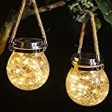 WELTRANS 2 Pack Hanging Solar Lights, 30 Led Solar Lanterns Outdoor String Fairy Lights, Crackle Mason Jar Glass Lamp for Tree, Table, Yard, Garden, Patio, Lawn, Party Outdoor Decorations(Warm White)