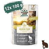 Wildes Land | Nassfutter für Katzen | Nr. 3 Huhn PUR | 12 x 100 g | Getreidefrei & Hypoallergen | Extra viel Fleisch | Beste Akzeptanz und...
