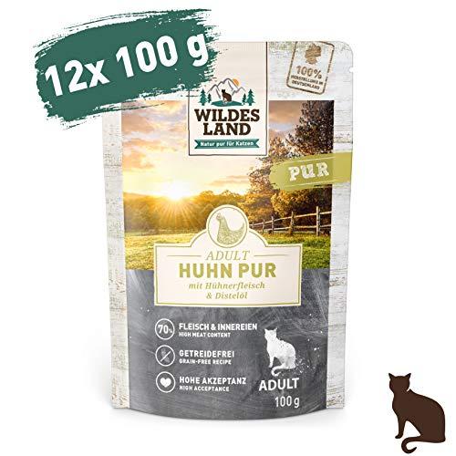 Wildes Land | Nassfutter für Katzen | Nr. 3 Huhn PUR | 12 x 100 g | Getreidefrei & Hypoallergen | Extra viel Fleisch | Beste Akzeptanz und Verträglichkeit