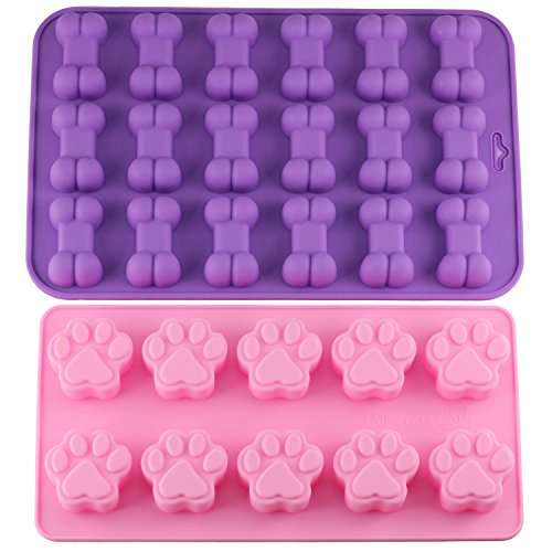 Mujiang Puppy Dog Paw and Bone Trays Silicone Pet Treat Molds, Set of 2