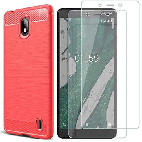 MYLBOO Nokia 1 Plus Cover con Pellicola Protettiva,[3 in 1] Custodia in Silicone TPU Morbida e Sottile +[2 Pack] [Durezza 9H] Proteggi Schermo in Vetro temperato per Nokia 1 Plus-Rosso