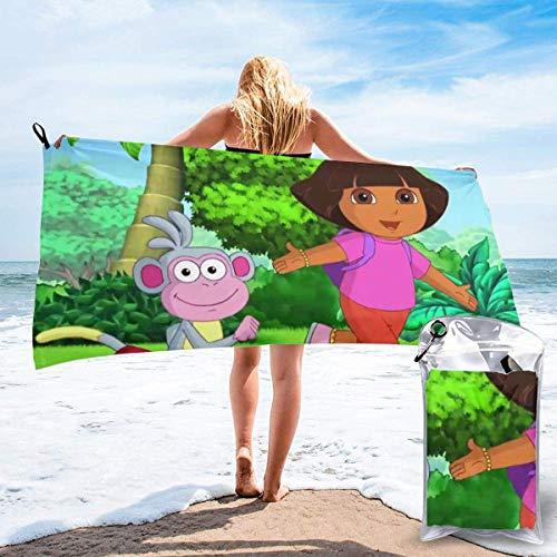 Yuanmeiju Towel Dora The Explorer - Toalla de playa de secado rápido, ligera, 31,5 x 63 cm