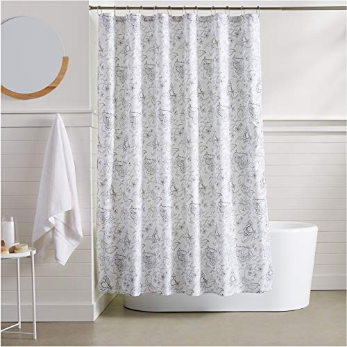 AmazonBasics Grey Floral Shower Curtain - 72 Inch