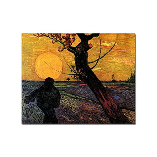 kakyd Famoso Pittore The Sewer Dipinti Ad Olio su Tela Sunset Tree Poster E Stampa Colorful Wall Art Picture for Living Decorazione della Casa -60X80Cmx1 No Frame