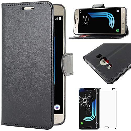 ebestStar - kompatibel mit Samsung Galaxy J5 2016 Hülle SM-J510F Wallet Hülle Handyhülle [PU Leder], Kartenfächern Standfunktion, Schwarz +Panzerglas Schutzfolie [Phone: 145.8x72.3x8.1mm 5.2