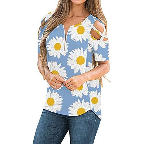 2021 Nouveau Mode Tee Shirt Manche Courte Femme, T Shirt Chemise Oversize Casual Blouse Tunique Chemisiers Tee Haut Ete Chic Tendance Top Zippé Epaule Dénudée JIekyoi