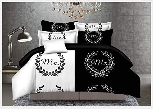 HDBUJ dekbedovertrek van zachte vezels, kreukvrij, halve cirkelvormige opdruk in wit en zwart, beddengoed met ritssluiting, twee bijpassende kussenslopen