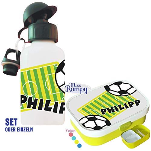 MissRompy Fußball (841) Brotdose mit Name im Set mit Trinkflasche oder einzeln Vesperdose Brotzeitdose Brotbüchse Sportflasche Aluflasche