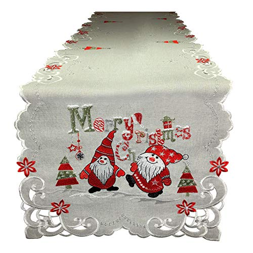 K & K TABLETOPS Merry Christmas Elf Elves Cut Work Table Runner Tablecloth Natural Embroidered Holiday Decoration Decor (16' X 69')