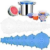 Coperchi elastici in silicone, 12 coperchi regolabili in silicone da cucina, riutilizzabili coperture protettive per coperchio di cibo, coppe o barattoli, forno a microonde disponibile (blu)
