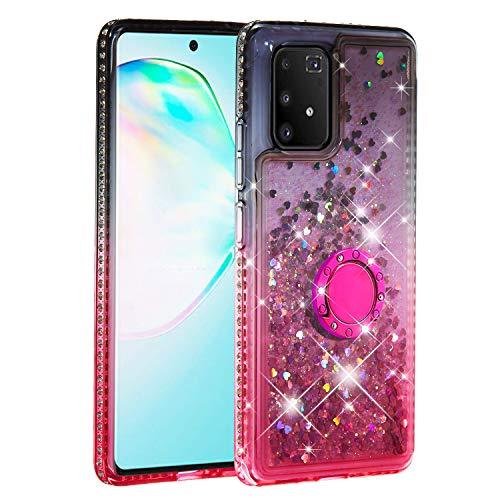 MadBee für Samsung Galaxy M80S / A91 / S10 Lite Hülle [mit HD-Schutzfolie], Glitzer Farbverlauf Durchsichtig Transparent Flüssig Bewegende Silikon TPU Bumper schutzhülle (Schwarzes Rosa)