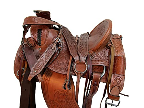 Brown Leather Western Saddle 17 16 15 Floral Tooled Ranch Roping Horse Tack Set (15)