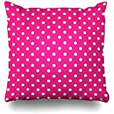 Throw Pillow Covers Hot Pink Polka Dot Outdoor Square Size 18 x 18 Inches Cushion Cases Home Pillowcases