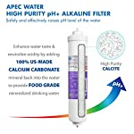 APEC Water Systems ROES-PH75 Essence Series Top Tier Alkaline Mineral pH+ 75 GPD 6-Stage Certified Ultra Safe Reverse… 15 Supreme quality - designed, engineered and assembled in USA to guarantee water safety & your health. This 75 GPD 6-stage system ROES-PH75 is guaranteed to remove up to 99% of contaminants such as chlorine, taste, odor, VOCs, as well as toxic fluoride, arsenic, lead, nitrates, heavy metals and 1000+ contaminants. Max Total Dissolved Solids - 2000 ppm. Feed Water Pressure 40-85 psi US made cartridge uses food-grade calcium from trusted source for safe, proven water pH enhancement. Enjoy ultra-pure drinking water with added calcium minerals for improved ALKALINITY and great taste.