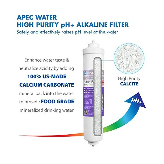 APEC Water Systems ROES-PH75 Essence Series Top Tier Alkaline Mineral pH+ 75 GPD 6-Stage Certified Ultra Safe Reverse… 5 Supreme quality - designed, engineered and assembled in USA to guarantee water safety & your health. This 75 GPD 6-stage system ROES-PH75 is guaranteed to remove up to 99% of contaminants such as chlorine, taste, odor, VOCs, as well as toxic fluoride, arsenic, lead, nitrates, heavy metals and 1000+ contaminants. Max Total Dissolved Solids - 2000 ppm. Feed Water Pressure 40-85 psi US made cartridge uses food-grade calcium from trusted source for safe, proven water pH enhancement. Enjoy ultra-pure drinking water with added calcium minerals for improved ALKALINITY and great taste.