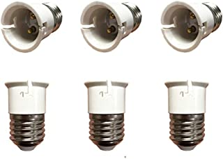6-Pack E27 to B22 Adaptor, E27 ES Edison Screw to Bayonet Cap B22 Converter,ES to BC Light Socket Converter(E27 to B22)