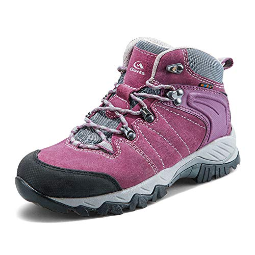 Clorts Women's Hiking Camping Boots Waterproof Breathable High-Traction Grip Backpacking Hiker Shoes HKM-822E US 7 Purple
