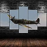 Yywife Cuadro sobre Lienzo - 5 Piezas - Impresión En Lienzo - Ancho: 150Cm, Altura: 80Cm - Listo para Colgar -Spitfire Dambusters RAF Cuadros Decoracion Salon