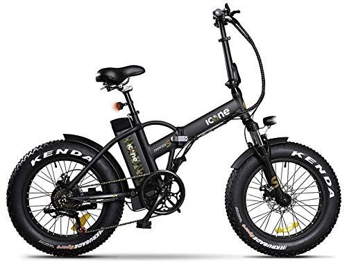 giordanoshop Fat-Bike Bicicletta Elettrica Pieghevole a Pedalata Assistita 20' 250W Icon.E Marines Black S Nera