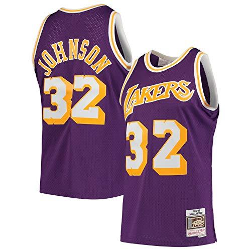 FSAFSA Camiseta de baloncesto de malla de manga corta #32 Hardwood Classics Swingman Player Jersey Púrpura - Edición Icono