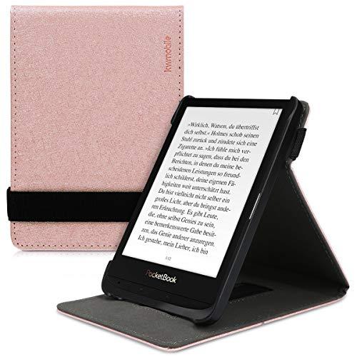 kwmobile Schutzhülle kompatibel mit Pocketbook Touch Lux 4/Lux 5/Touch HD 3/Color (2020) - Hülle e-Reader mit Schlaufe Ständer - - Rosegold