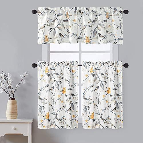 VOGOL Rod Pocket Kitchen Curtains and Valances Set, Birds Printed Tiers Valances for Windows for Kitchen Bathroom, 52x18 & 30x36, 3 Panel