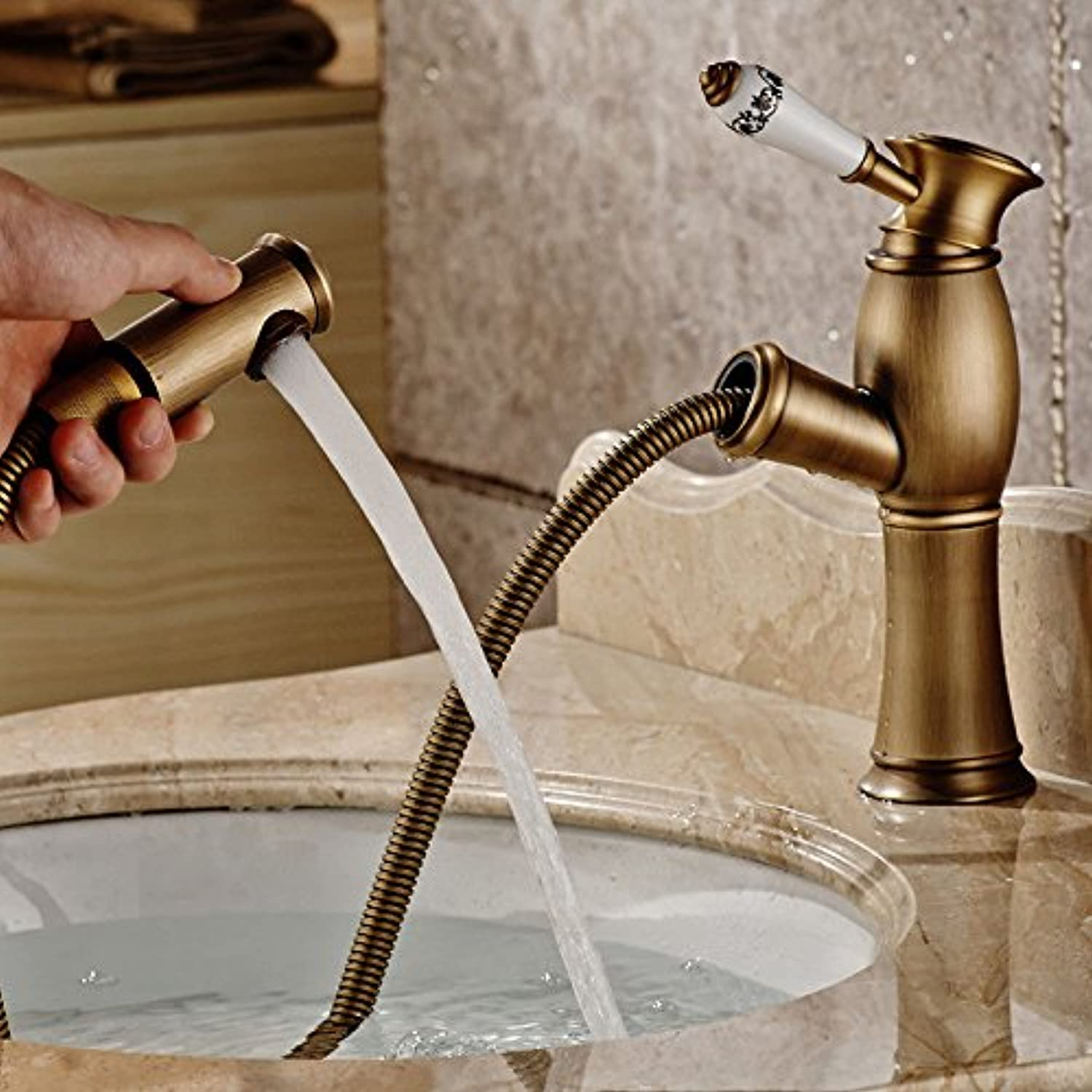 ETERNAL QUALITY Bathroom Sink Basin Tap Brass Mixer Tap Washroom Mixer Faucet All copper pull hot and cold golden basin faucet antique table basin table telescoping Faucet Kitchen Sink Taps