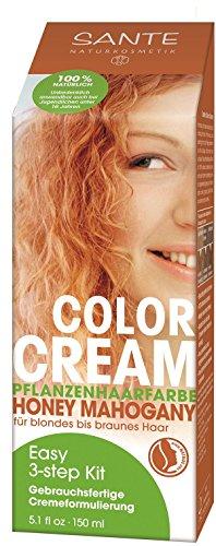 SANTE Naturkosmetik Color Cream Pflanzenfarbe Honey Mahogany, Natürlicher Rotton, Gebrauchsfertige Cremeformulierung, 150ml