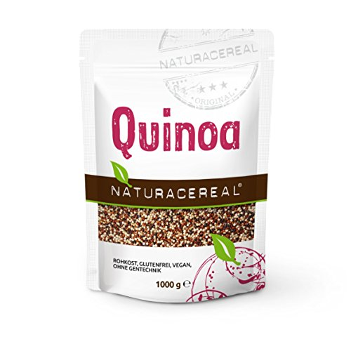 NATURACEREAL Quinoa, bunt (schwarz+weiß+rot), 1.000g (1x1kg) - Glutenfrei und eiweißreich,...