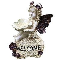 庭の装飾ようこそ天使の彫像カード小道具芝生の装飾ガーデニングの装飾
