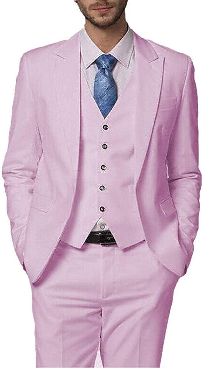 Men's Suit Slim Fit Suit Blazer Jacket Tux Vest & Trousers 3-Piece Suit Set
