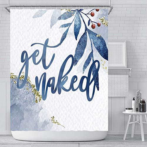 Get Naked Blau Worte Duschvorhang mit 12 Haken, einfaches modernes wasserdichtes Badezimmerdekor aus Polyester, farbecht, wasserdicht, 180 * 180 cm… (Blau Worte)