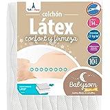 Babysom - Colchón Cuna Bebé Latex - 60 x 120 cm - Altura 14 cm - Antiácaros - Antiasfixia -...