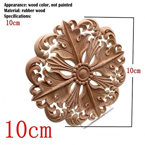 NHFVIRE Woodcarving Furniture Decoration European Style Solid Wood Round Applique Heart Decorative Flower Figurines Miniatures 10cm