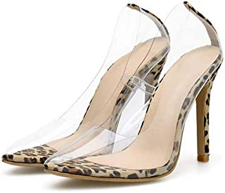 f1add0d4c43 GHFJDO Women Transparent Clear High Heel PVC Pumps