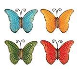 YiYa 4 PCS Metall Schmetterling Wanddekoration Schmetterling Wandkunst für Innen- oder Außengarten Zaun Dekor