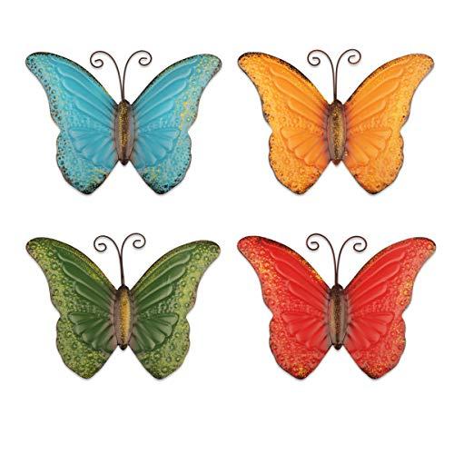 YiYa 4 Piezas de decoración de Pared de Mariposa de Metal para decoración de Valla de jardín Interior o Exterior