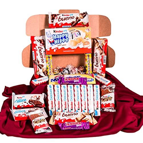 Caja regalo de bombones y chocolates - Kinder Bueno, Kinder Delice, Lindt,Milkibar, Kinder Cards, Lacasitos, Happy Hippo. Regalo original para el día de la madre , cumpleaños , San Valentin