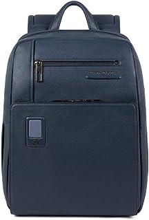 Akron Business - Mochila de piel de 38 cm con compartimento para ordenador portátil