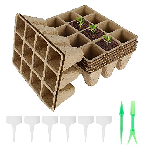 8 Pieces Seed Starter Trays 12 Cells Biodegradable Seedling Tray Pulp Peat Pots Compostable Eco-Friendly Organic Nursery Germination Planter for Gardens Vegetable Fruit Flower Nurseries Greenhouses