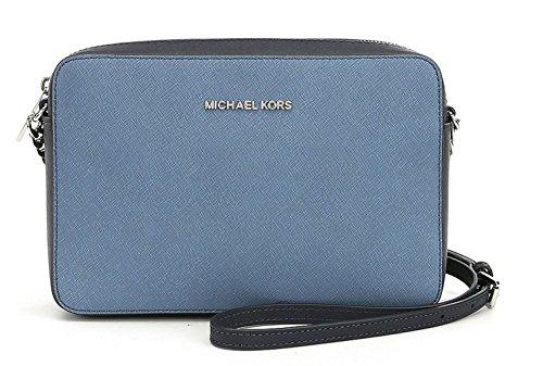 "Colorlocked saffiano leather Top zipper closure. Silver tone hardware 3 interior pockets 9 X 2.25 X 6 inches adjustable 25-26"" strap drop"