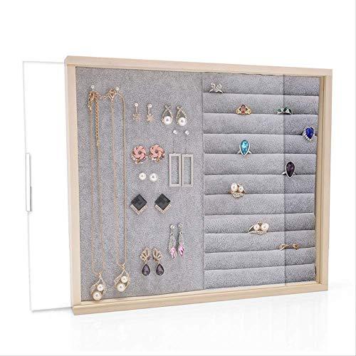 SUPERHUA Organizer portaoggetti da appendere per gioielli, scatola portagioie in legno massiccio per orecchini, per la casa, orecchini, orecchini, vassoio, collana, gioielli