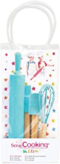 SCRAP COOKING 1133 Set de 4 Ustensiles pour Enfants, Silicone, Bleu Turquoise, 31 x 16,5 x 0,1 cm